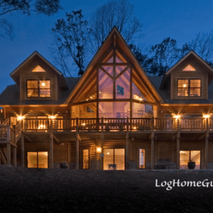 Modified Shenandoah Log Home Night View Of Front