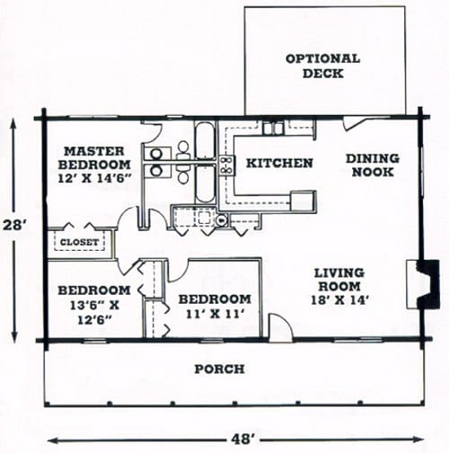 Santa Fe Log Home Floorplan