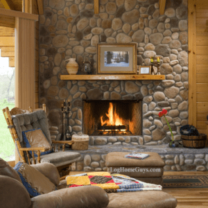 Silverado log home floor plan features a full stone fireplace, great for those relaxing afternoons. Log Home Guys can custom design to fit your needs.